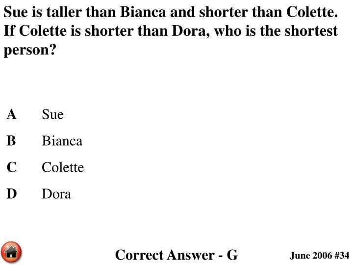 Sue is taller than Bianca and shorter than Colette. If Colette is shorter than Dora, who is the shortest person?