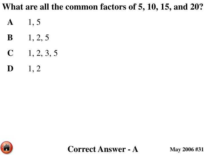What are all the common factors of 5, 10, 15, and 20?