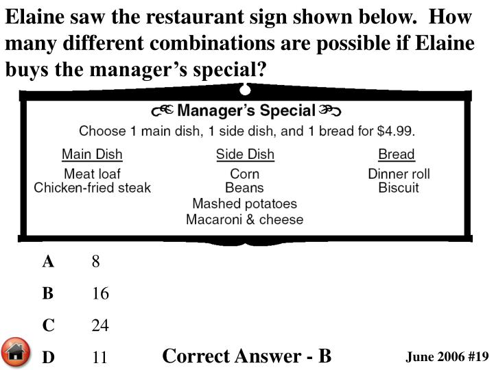 Elaine saw the restaurant sign shown below.  How many different combinations are possible if Elaine buys the manager's special?