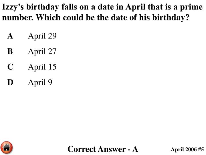 Izzy's birthday falls on a date in April that is a prime number. Which could be the date of his birthday?