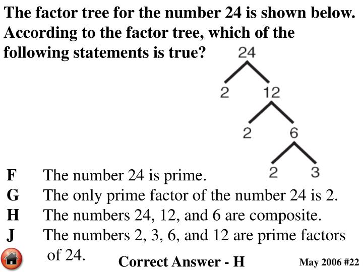 The factor tree for the number 24 is shown below. According to the factor tree, which of the following statements is true?