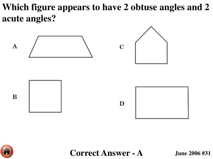 Which figure appears to have 2 obtuse angles and 2 acute angles?