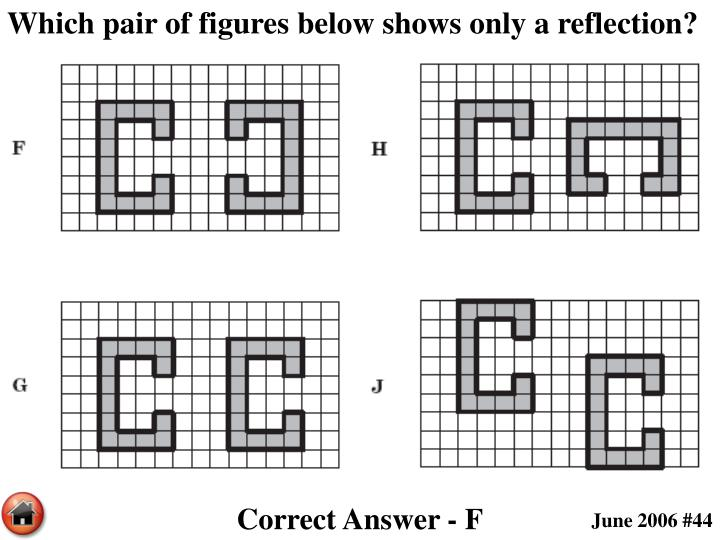 Which pair of figures below shows only a reflection?