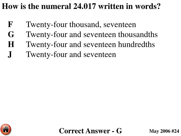 How is the numeral 24.017 written in words?