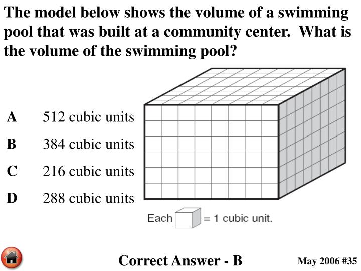 The model below shows the volume of a swimming pool that was built at a community center.  What is the volume of the swimming pool?