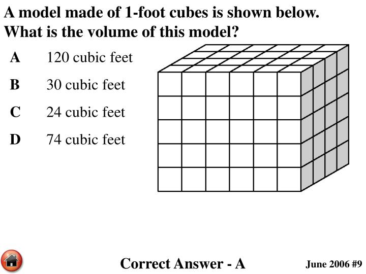 A model made of 1-foot cubes is shown below.  What is the volume of this model?