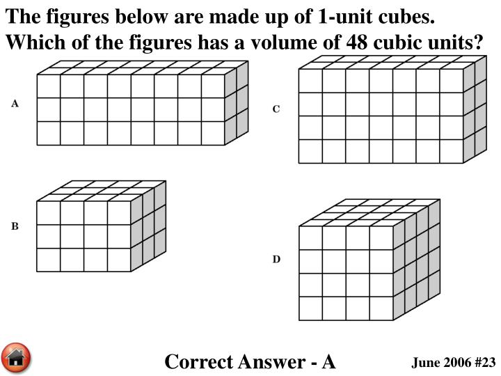 The figures below are made up of 1-unit cubes.  Which of the figures has a volume of 48 cubic units?