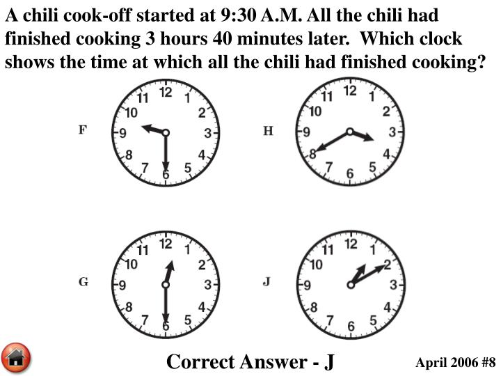 A chili cook-off started at 9:30 A.M. All the chili had finished cooking 3 hours 40 minutes later.  Which clock shows the time at which all the chili had finished cooking?