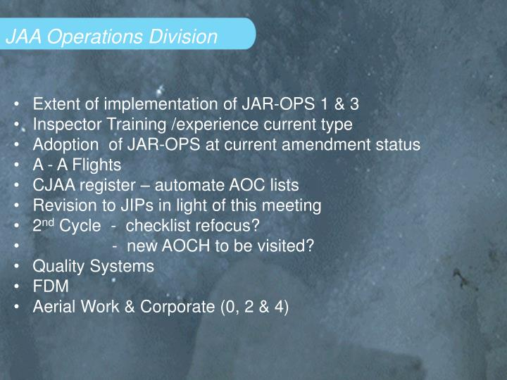 JAA Operations Division
