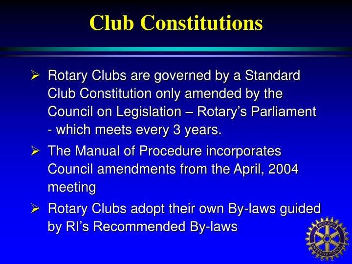 Club Constitutions