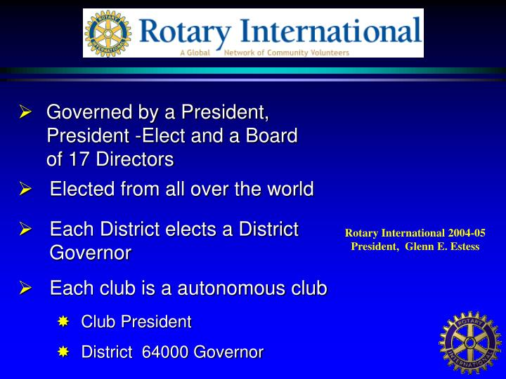 Governed by a President, President -Elect and a Board