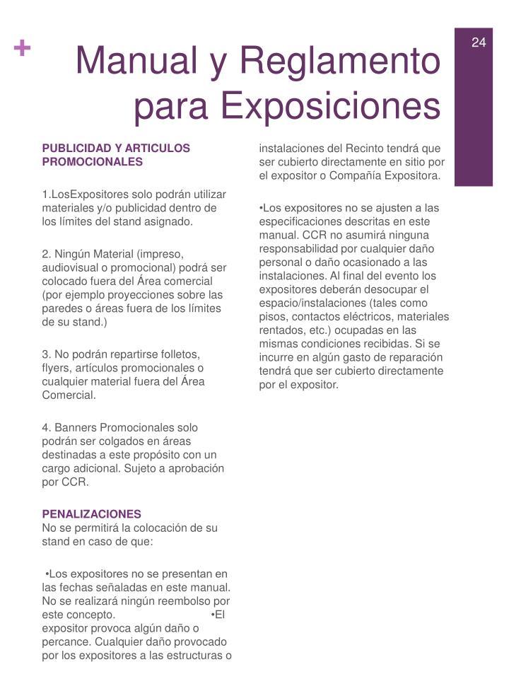 Manual y Reglamento para Exposiciones
