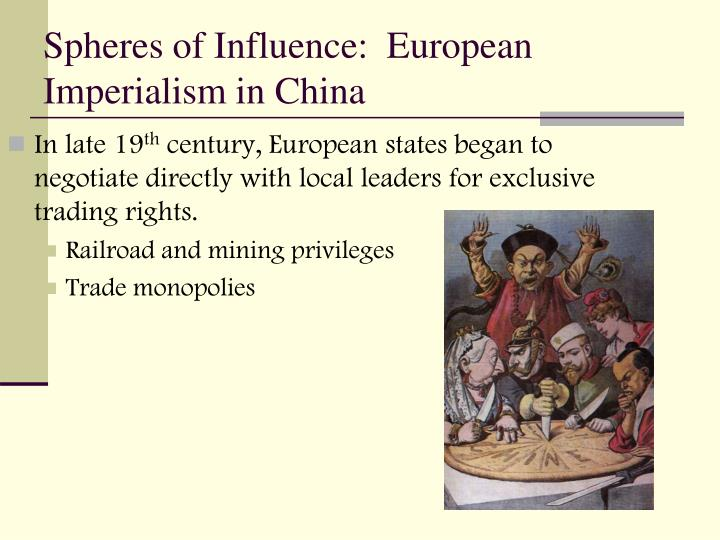 Spheres of Influence:  European Imperialism in China