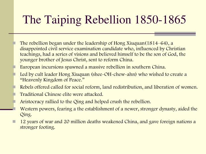 The Taiping Rebellion 1850-1865
