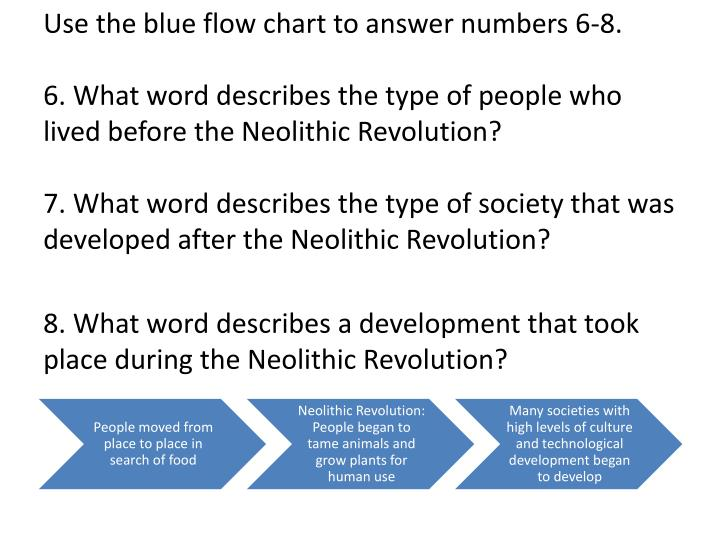 Use the blue flow chart to answer numbers 6-8.