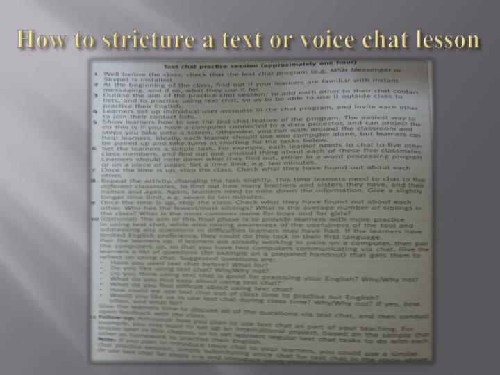 How to stricture a text or voice chat lesson
