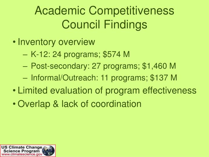 Academic competitiveness council findings