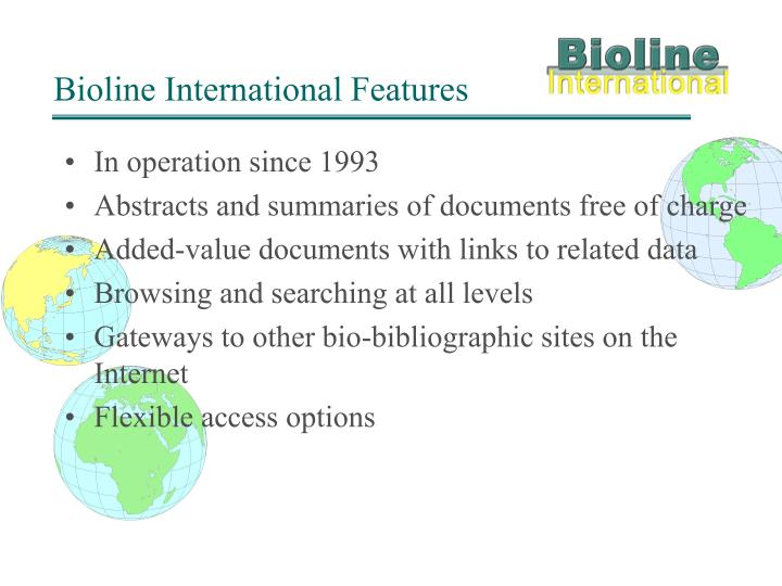 Bioline International Features