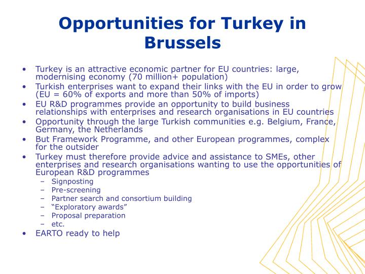Turkey is an attractive economic partner for EU countries: large, modernising economy (70 million+ population)