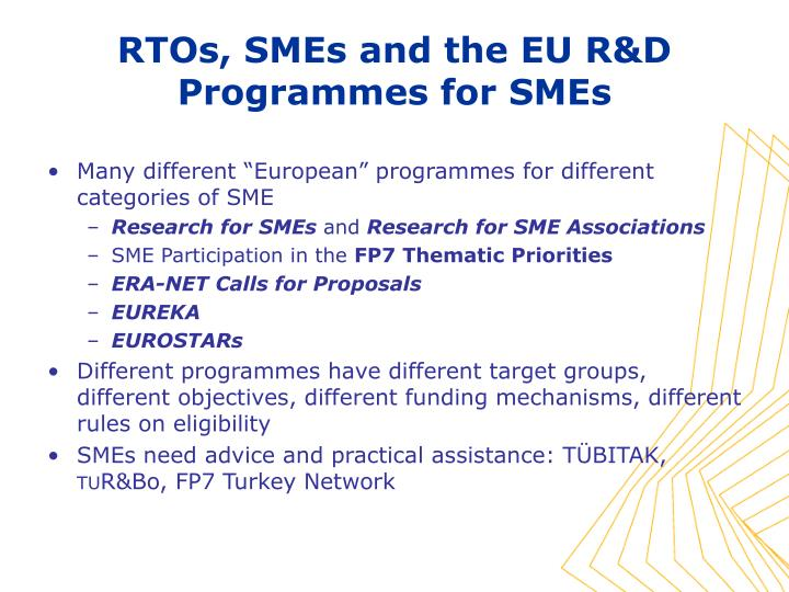 "Many different ""European"" programmes for different categories of SME"