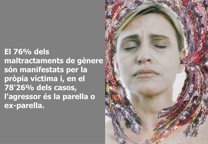 El 76% dels maltractaments de gènere són manifestats per la pròpia víctima i, en el 78'26% dels casos, l'agressor és la parella o ex-parella.