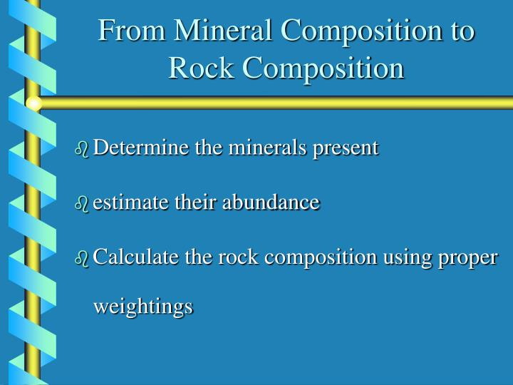 From Mineral Composition to Rock Composition