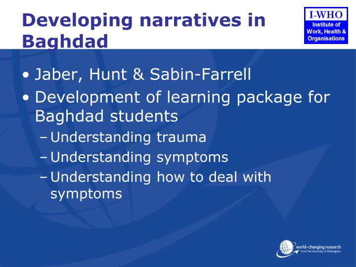 Developing narratives in Baghdad