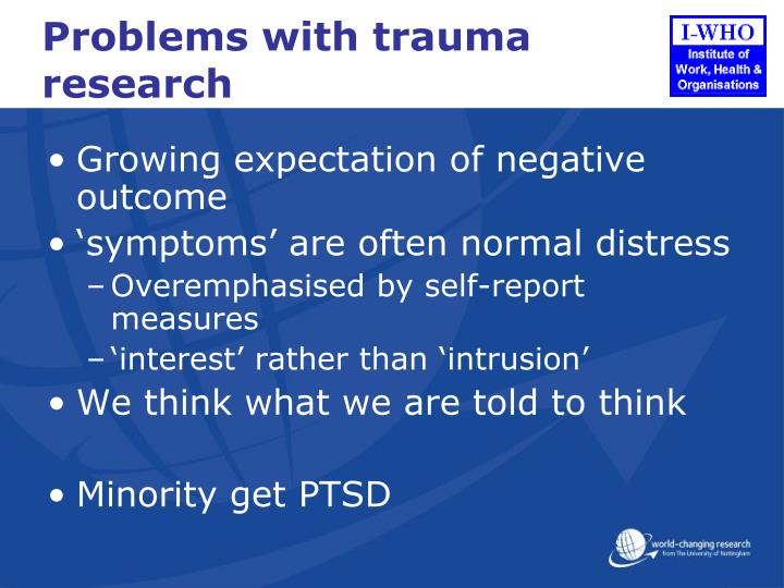 Problems with trauma research