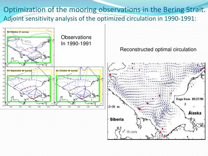 Optimization of the mooring observations in the Bering Strait.