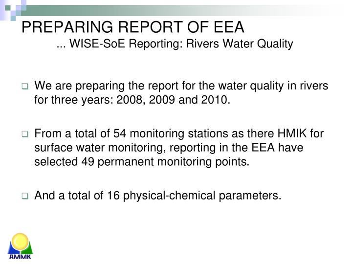 Preparing report o f eea wise soe reporting rivers water quality