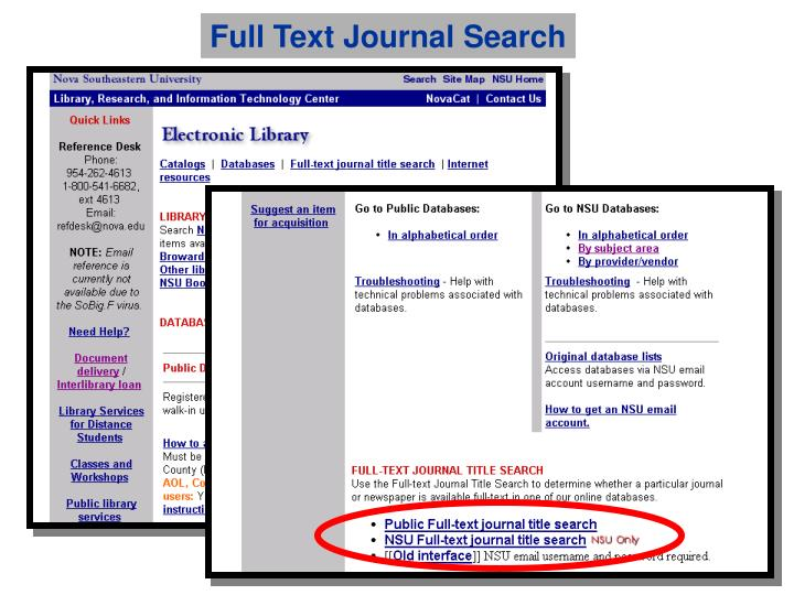 Full Text Journal Search