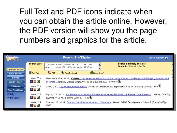 Full Text and PDF icons indicate when