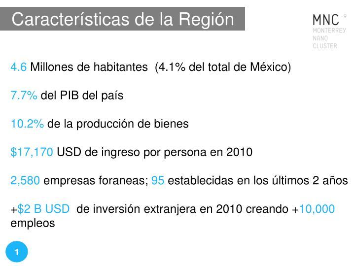 Características de la Región