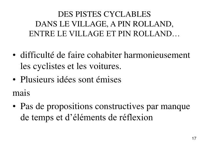DES PISTES CYCLABLES