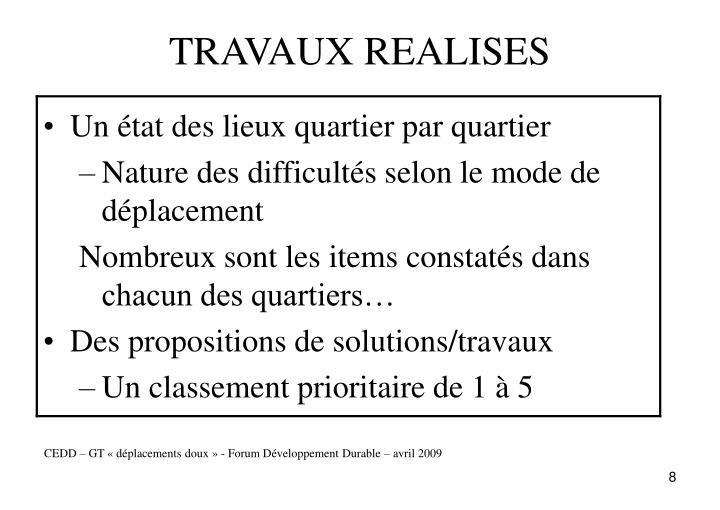 TRAVAUX REALISES