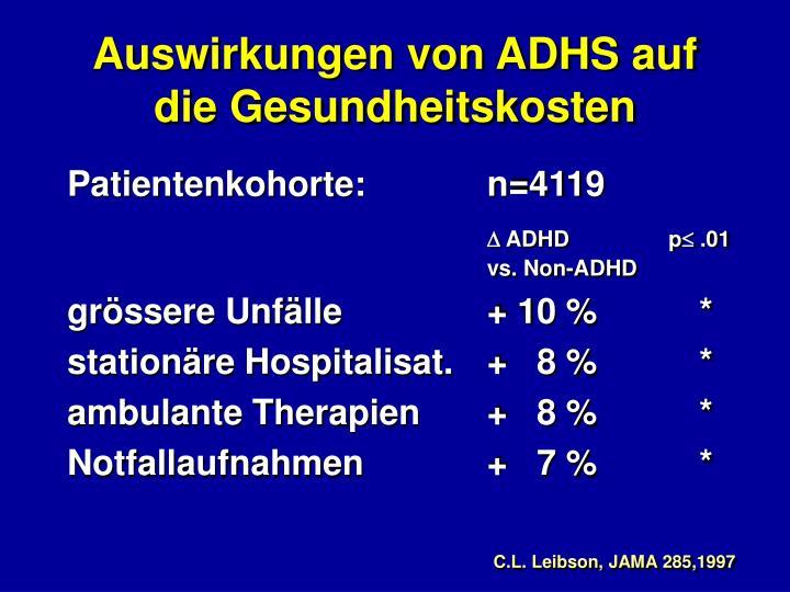 Auswirkungen von ADHS auf  die Gesundheitskosten