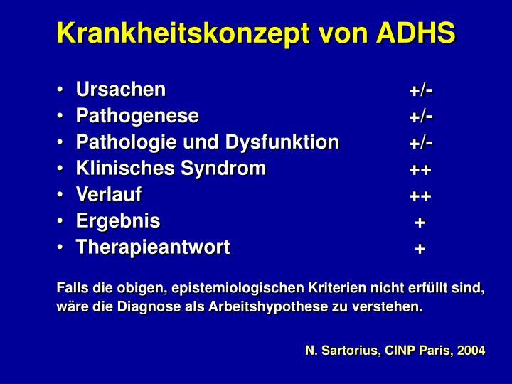 Krankheitskonzept von ADHS