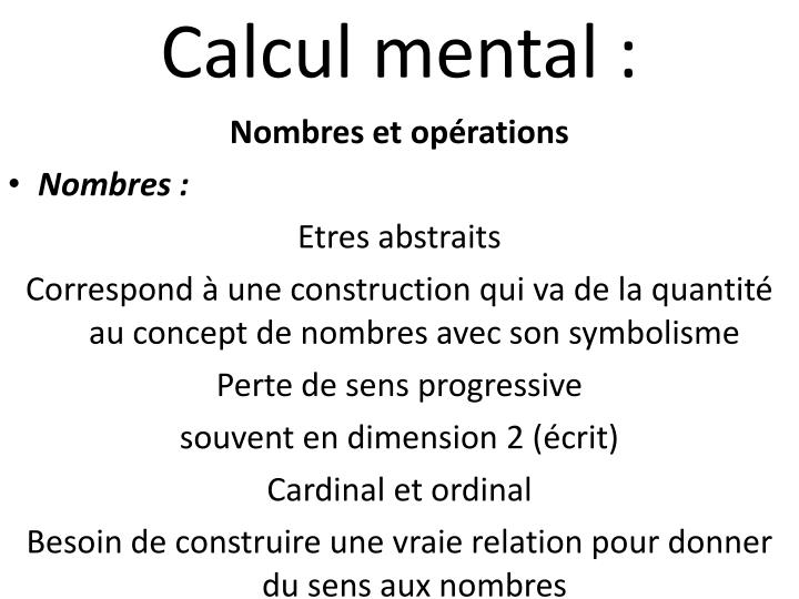 Calcul mental :