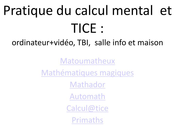 Pratique du calcul mental  et TICE :