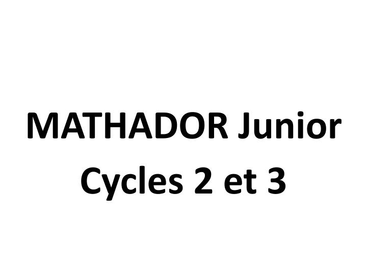 MATHADOR Junior