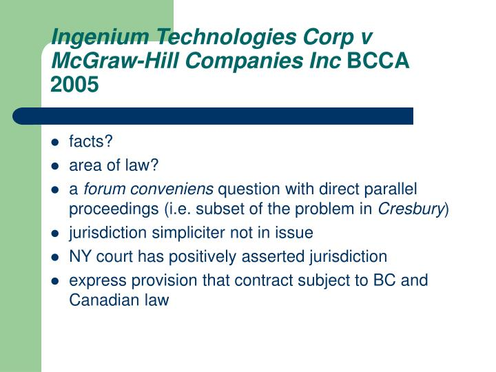 Ingenium Technologies Corp v McGraw-Hill Companies Inc