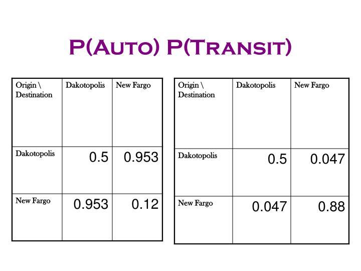 P(Auto) P(Transit)