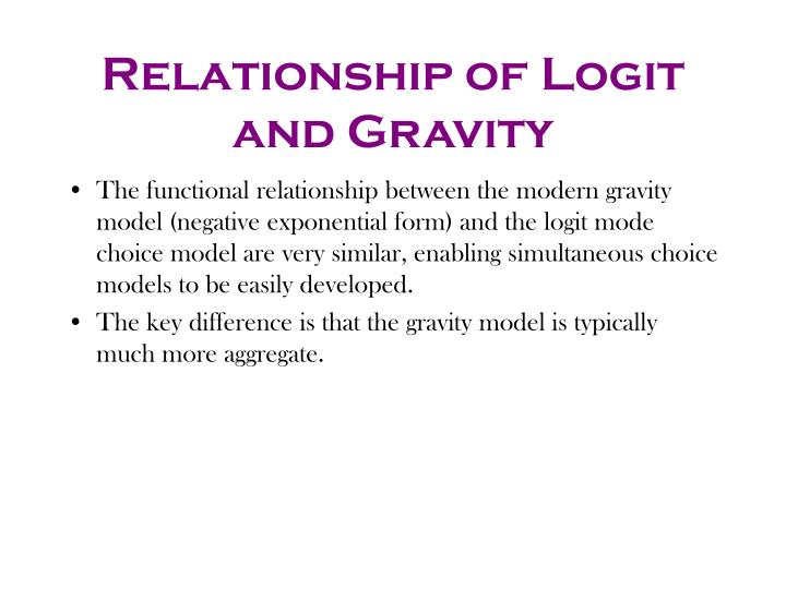 Relationship of Logit and Gravity