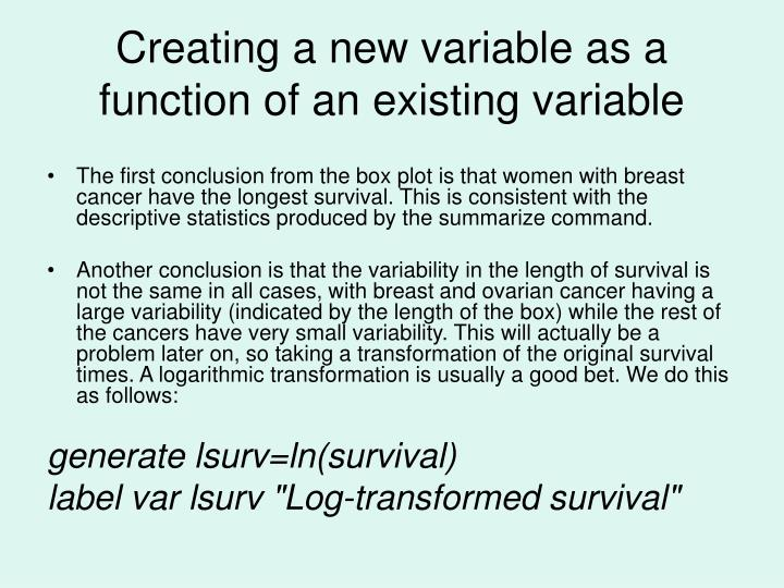 Creating a new variable as a function of an existing variable