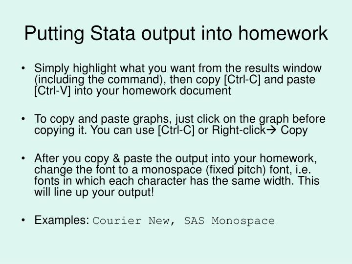 Putting Stata output into homework