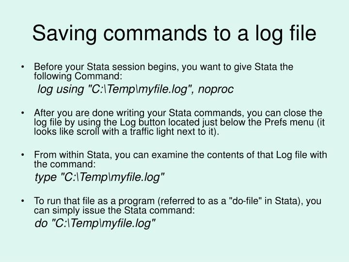 Saving commands to a log file