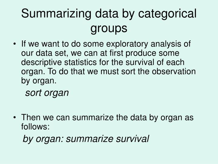Summarizing data by categorical groups