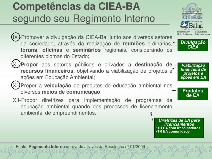 Competências da CIEA-BA