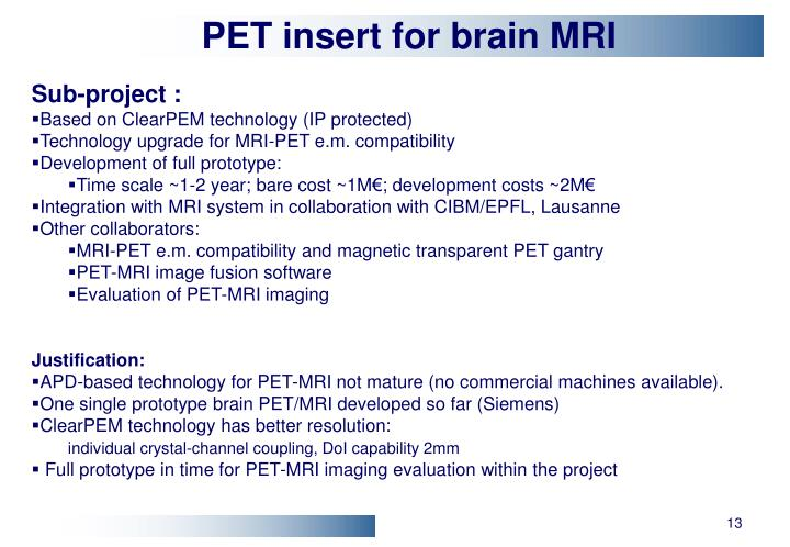 PET insert for brain MRI