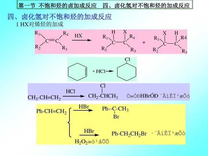 四、卤化氢对不饱和烃的加成反应